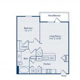 A1B One Bedroom Floorplan